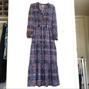 Blues Red Maxi Dress Peasant Gathered Tiered Skirt